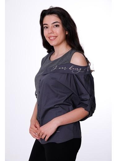 Clıche Yakalı Ve Askılı Omuz İşlemeli Bluz Antrasit